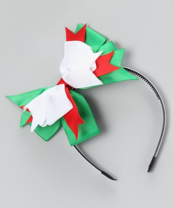 White & Green Bow Headband