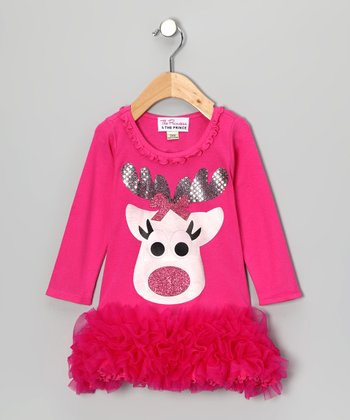 Pink Reindeer Ruffle Dress - Infant, Toddler & Girls
