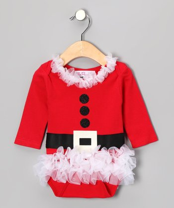 Red Mrs. Claus Chiffon Ruffle Bodysuit - Infant