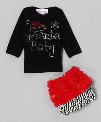 Black 'Santa Baby ' Tee & Diaper Cover - Infant