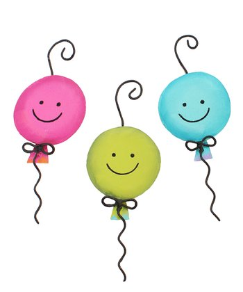 Smiley Balloon Ornament Set