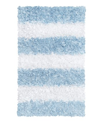 Blue Stripe Shag Rug