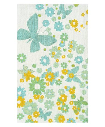 White & Aqua Sparkle Flies Rug