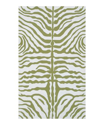Green & White Zebra Indoor/Outdoor Rug