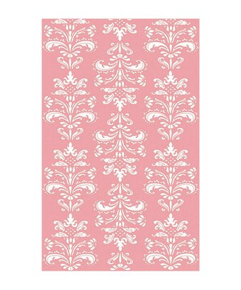 Pink & White Mini Damask Rug