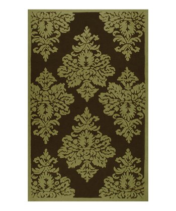 Sage & Brown Damask Rug