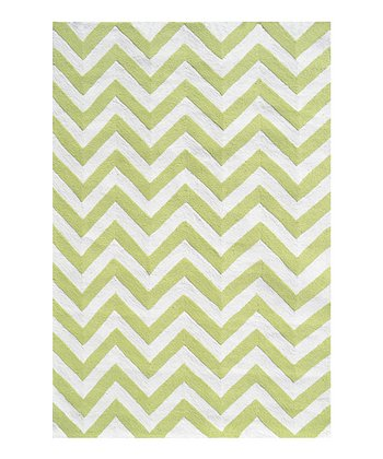 Lime & White Zigzag Rug