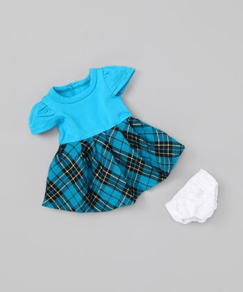 Tartan 18'' Doll Dress & Bloomers