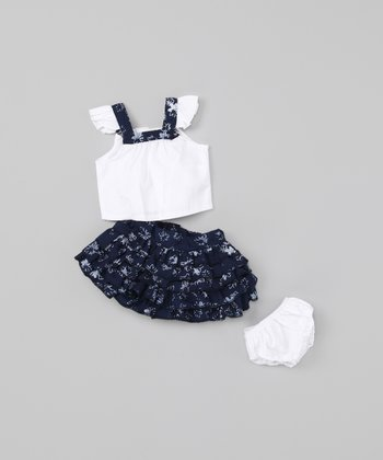 Black & White Ruffle 18''-Doll Outfit
