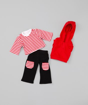 Red Stripe Doll Outfit