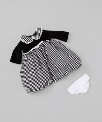Black Gingham 18''-Doll Outfit