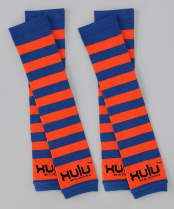 Royal Blue & Orange Stripe Arm Warmers Set