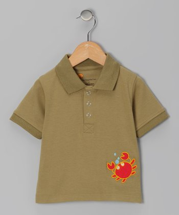 Olive Green Crab Organic Polo - Toddler & Boys