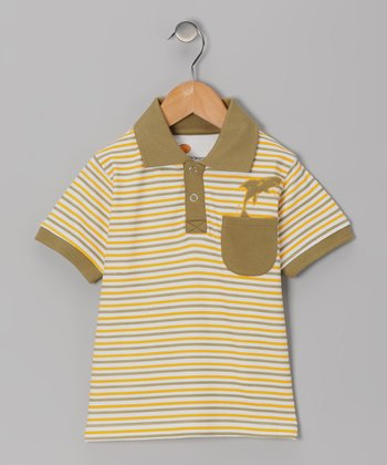 Mustard & Olive Stripe Organic Polo - Toddler & Boys