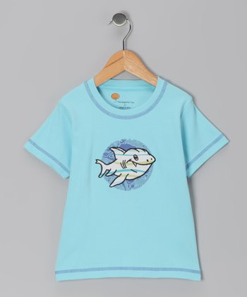 Light Blue Shark Organic Tee - Toddler & Boys