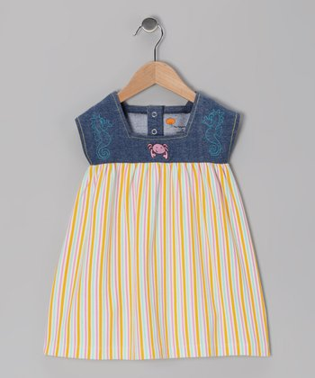 Denim & Yellow Stripe Knit Organic Dress - Toddler & Girls