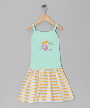 Aqua & Orange Stripe Mermaid Organic Dress - Toddler & Girls