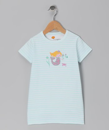 Teal Stripe Mermaid Organic Tunic - Toddler & Girls