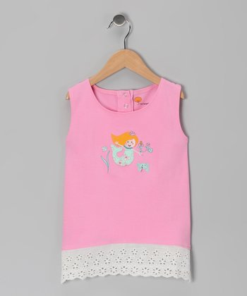Pink Mermaid Organic Eyelet Tunic - Toddler & Girls