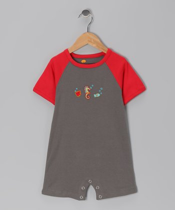 Gray & Red Knit Organic Romper - Infant