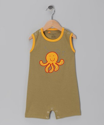 Olive Green Octopus Organic Romper - Infant