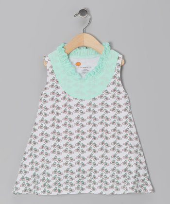 Aqua Flower Organic Yoke Dress - Infant, Toddler & Girls