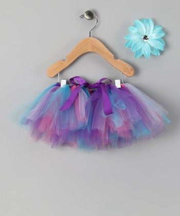 Purple & Teal Tutu & Daisy Clip - Infant, Toddler & Girls