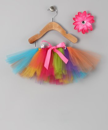 Rainbow Circus Tutu & Daisy Clip - Infant, Toddler & Girls