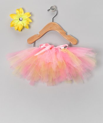 Pink & Yellow Lemonade Tutu & Daisy Clip - Infant, Toddler & Girls