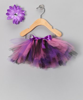 Black & Purple Punk Rock Tutu & Clip - Infant, Toddler & Girls