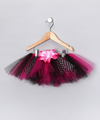 Hot Pink & Black Tutu & Daisy Clip - Infant, Toddler & Girls