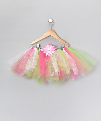 Pink & Green Tutu & Daisy Clip - Infant, Toddler & Girls
