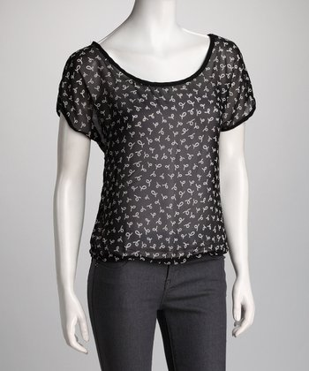 Black Sheer Button-Back Scoop Neck Top