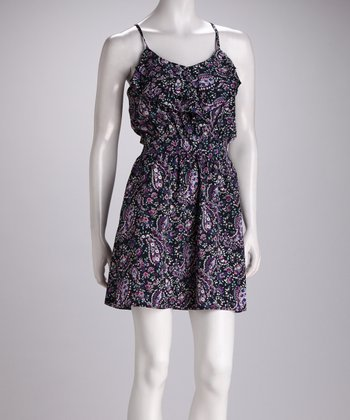 Purple Paisley Floral Ruffle Dress