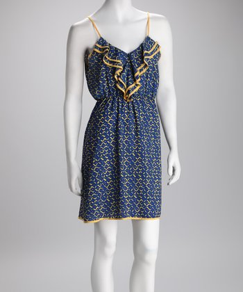 Blue & Yellow Diamond Ruffle Dress