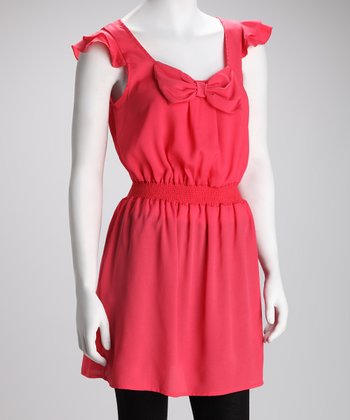Coral Ruffle Sleeve Dress