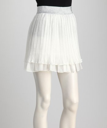 White Shimmer-Waist Pleated Skirt