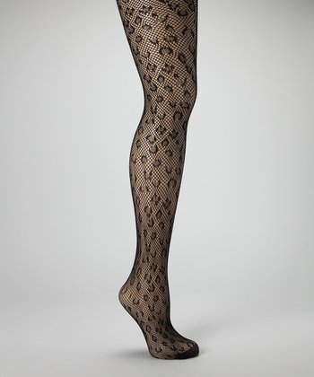 Black Leopard Fishnet Tights