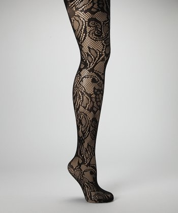 Black Floral Lace Fishnet Tights