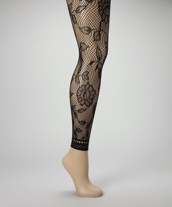 Black Blossom Fishnet Footless Tights