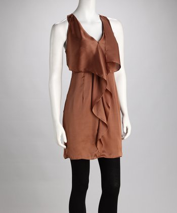 Brown Ruffle V-Neck Dress