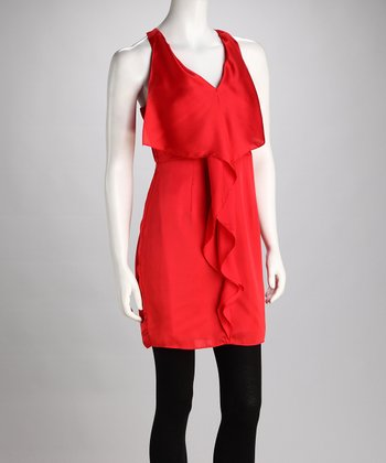 Red Ruffle V-Neck Dress