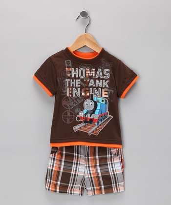 Chocolate Plaid Thomas Tee & Shorts - Infant