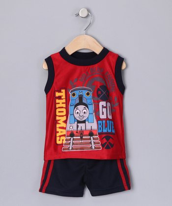 Red 'Go Blue' Tank & Shorts - Infant