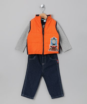 Orange Thomas Vest Set - Infant