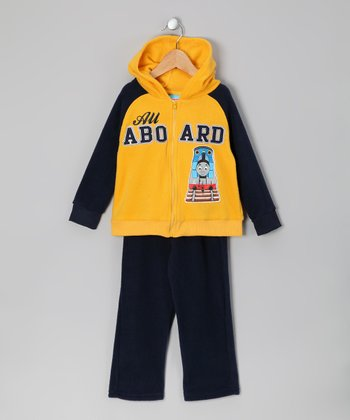 Yellow Thomas Fleece Zip-Up Hoodie & Pants - Toddler