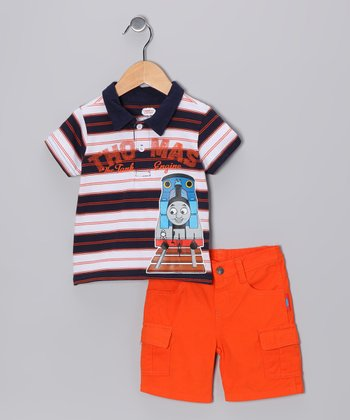 Navy Thomas Stripe Polo & Cargo Shorts - Infant