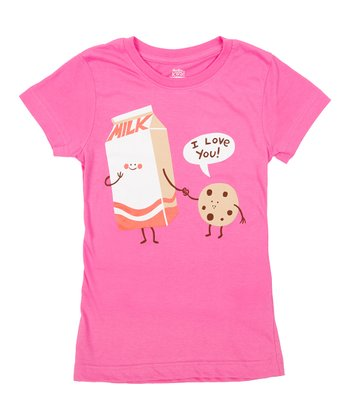 Raspberry Cookie Loves Milk Tee - Girls
