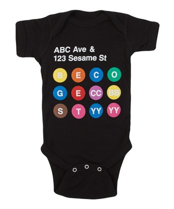 Black 'ABC Ave & Sesame Street' Bodysuit - Infant
