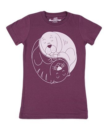 Bordeaux Cats & Dogs Tee - Girls